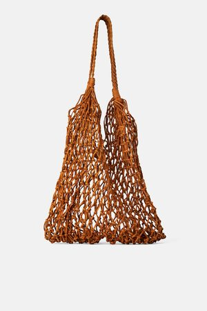 Zara Naiset Isot laukut & ostoslaukut - Leather tote bag with plaited detail
