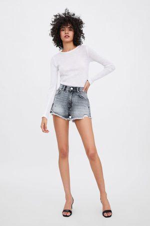 Zara Mid-rise denim shorts