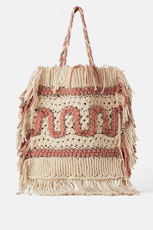 Zara Natural braided tote bag
