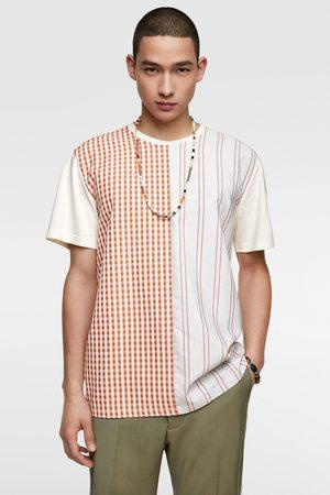 Zara Contrasting checked t-shirt