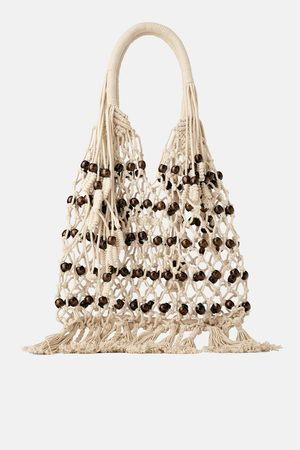 Zara Braided tote bag with wooden balls