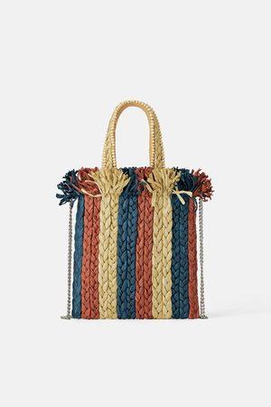 Zara Contrast natural mini tote bag