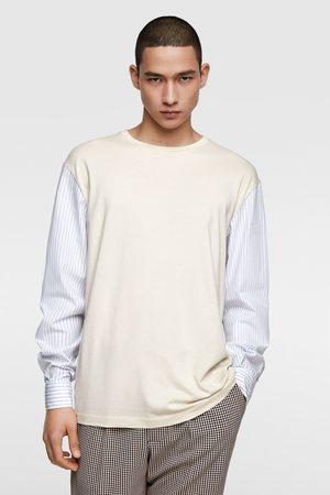 Zara Miehet T-paidat - T-shirt with contrast sleeves