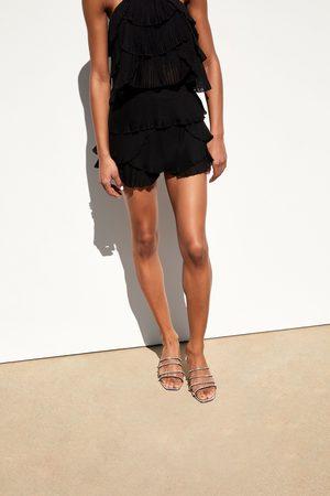 Zara Pleated shorts with ruffles