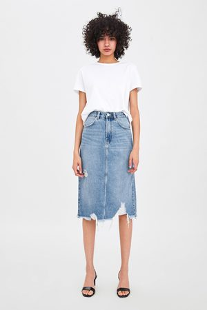 Zara Edited ripped denim skirt