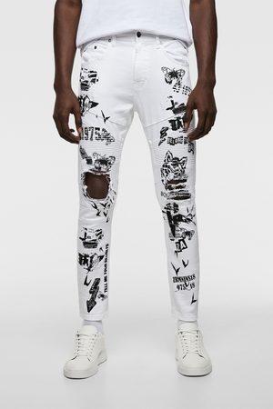 Zara Slogan-printed skinny biker jeans