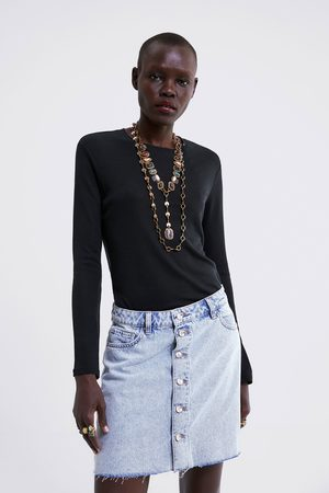 Zara Buttoned denim mini skirt