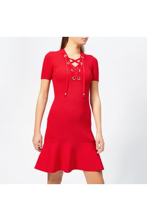 Michael Kors Women's Lace Up Short Sleeve Flare Rib Dress - Scarlet - S - Red
