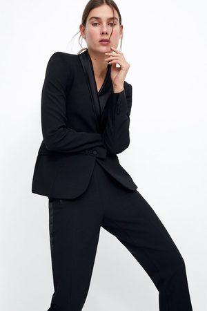 Zara Contrast shawl collar blazer