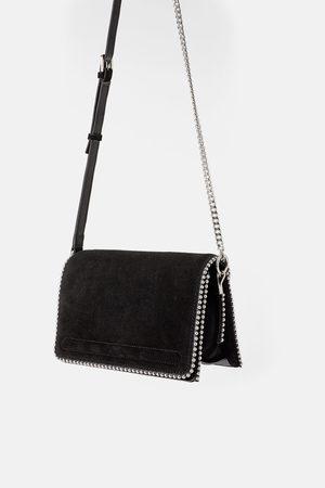 Zara Studded split suede crossbody bag