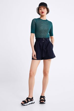 Zara Belted poplin bermuda shorts