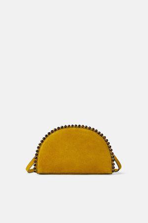 Zara Semi-circle leather crossbody bag with tortoiseshell balls