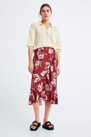 Zara Naiset Printtihameet - Ruffled floral print skirt