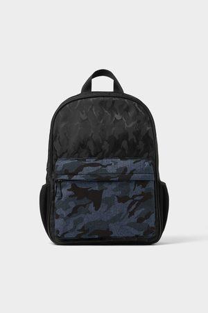 Zara Black camouflage print backpack