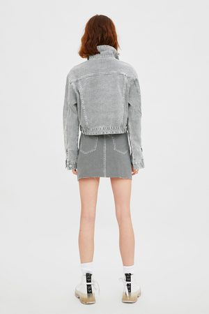 Zara Houndstooth denim skirt