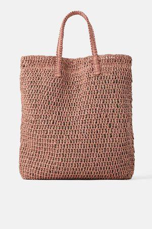Zara Braided paper tote bag