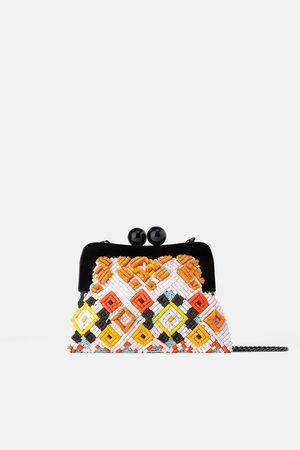 Zara Beaded crossbody bag with clasp fastening