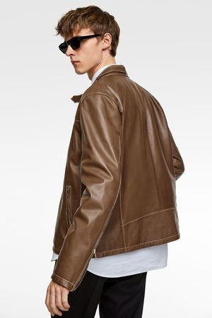 Zara Leather jacket with topstitching