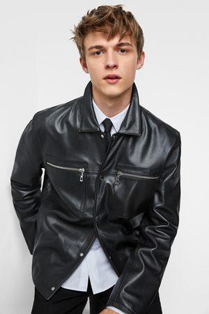 Zara Miehet Nahkatakit - Leather jacket with pockets