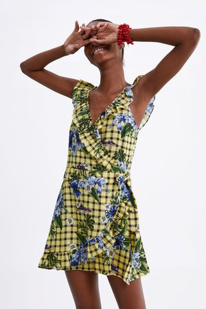 Zara Naiset Haalarit - Printed jumpsuit with ruffles