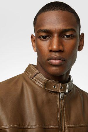 Zara Miehet Nahkatakit - Leather jacket with topstitching