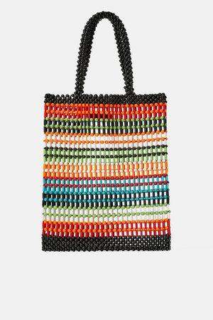 Zara Multicoloured beaded tote bag