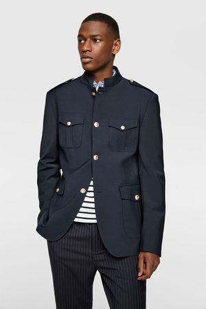 Zara Buttoned blazer with stand-up collar