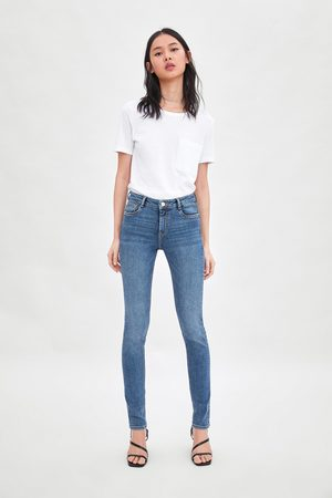 Zara Naiset Kapeat Housut - Mid-rise skinny compact longer length essential jeans