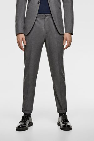 Zara Textured cropped suit trousers