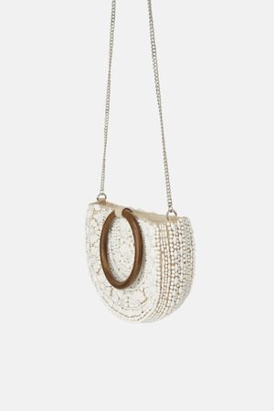 Zara Natural beaded oval crossbody bag