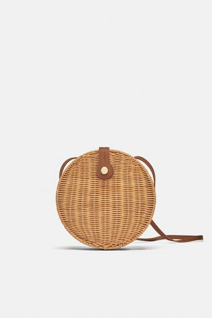 Zara Round raffia crossbody bag