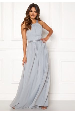 Goddiva Halterneck Chiffon Maxi Dress Grey XS (UK8)