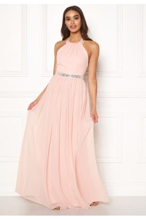 Goddiva Halterneck Chiffon Maxi Dress Nude XL (UK16)