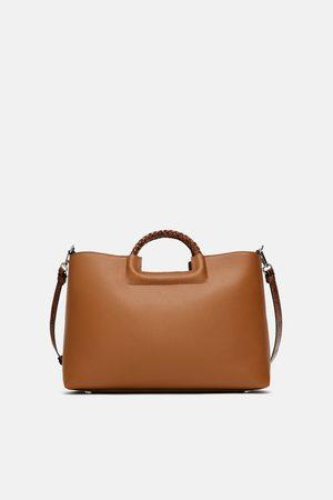 Zara TOTE BAG WITH ANIMAL PRINT STRAP