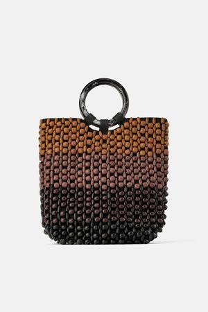 Zara Three-tone beaded tote bag