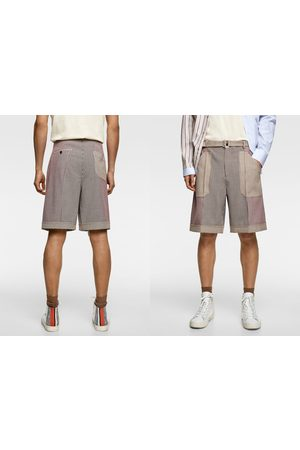 Zara Check patchwork bermuda shorts