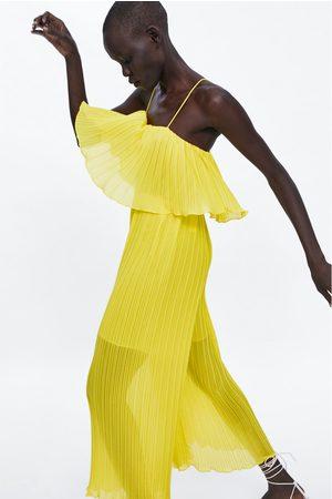 Zara Naiset Haalarit - Pleated jumpsuit with straps
