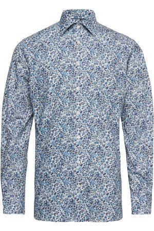 Eton Blue Floral Print Poplin Shirt