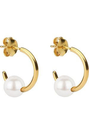 syster P Naiset Korvarenkaat - Pearly Small Hoops Gold White Accessories Jewellery Earrings Hoops Kulta