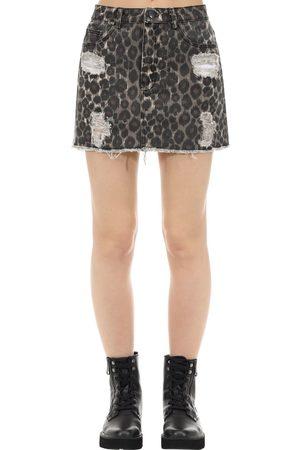 The People Vs Vixen Jaguar Print Cotton Denim Skirt
