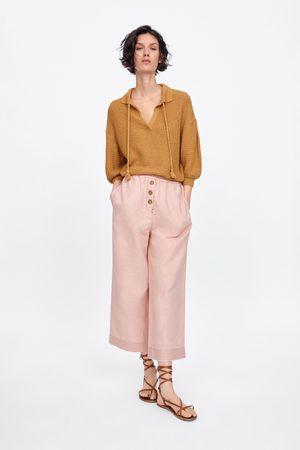 Zara Buttoned culotte trousers