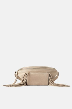 Zara Split suede crossbody belt bag with fringing