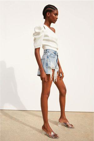 Zara Ripped denim hi-rise shorts
