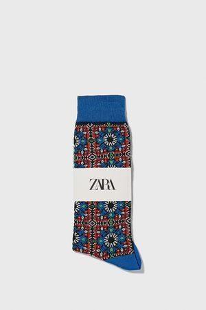 Zara Geometric jacquard mercerised cotton socks