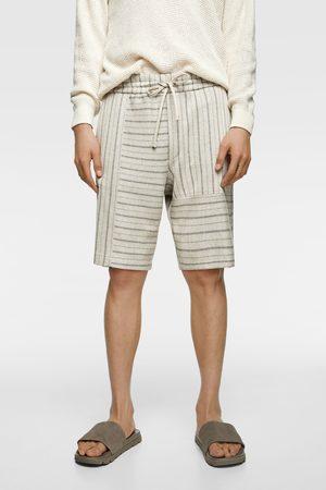 Zara Striped rustic bermudas