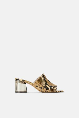 Zara Mules with methacrylate heel