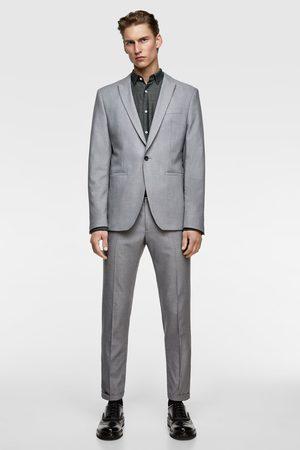 Zara Textured panama suit trousers
