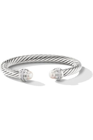 David Yurman Sterling silver Cable pearls and diamond 7mm cuff