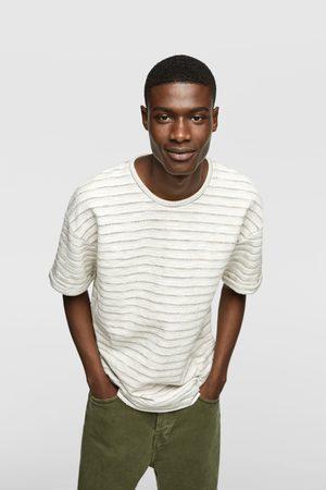 Zara Striped textured weave t-shirt