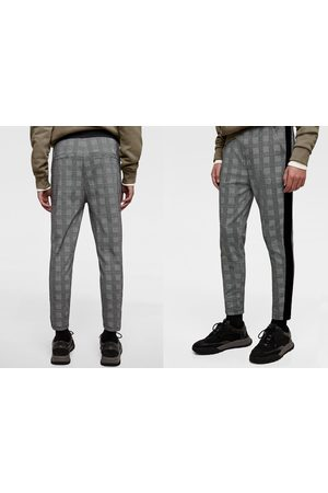 Zara CHECKED JOGGING TROUSERS WITH STRIPE DETAIL